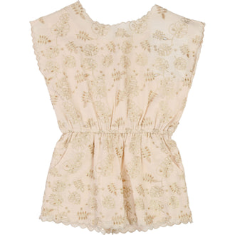 Cream French Embroidered Romper