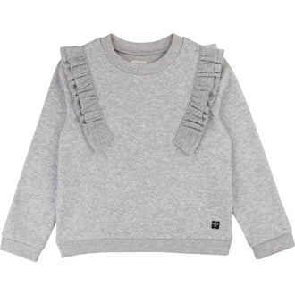 Grey Ruffle Shoulder Sweatshirt