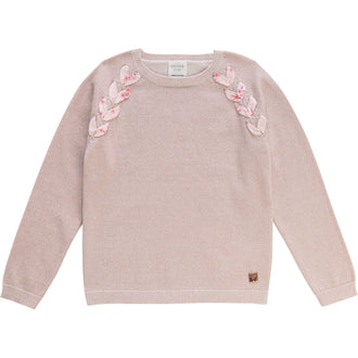 Lurex Sweater With Floral Ribbon