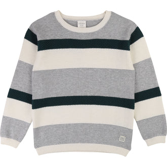 Green/Grey Striped Knit Pullover Top
