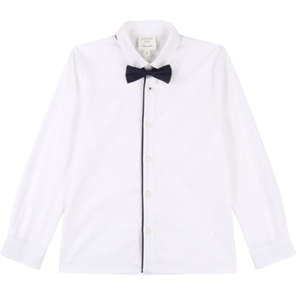 White Button Down Shirt With Bowtie