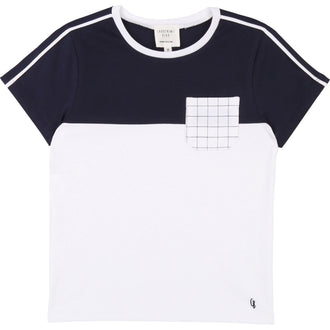 White&Navy Colorblock Tee With Checkered Pocket