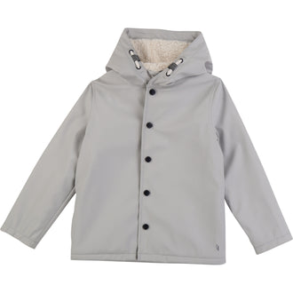 Grey Raincoat With Shearling Lining