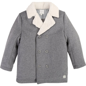 Light Grey Shearling Pea Coat