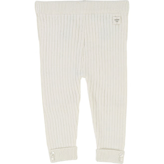 White Knit Ribbed Legging