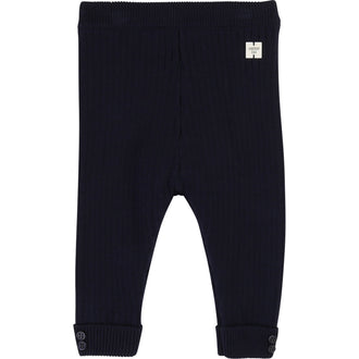 Navy Ribbed Knit Legging