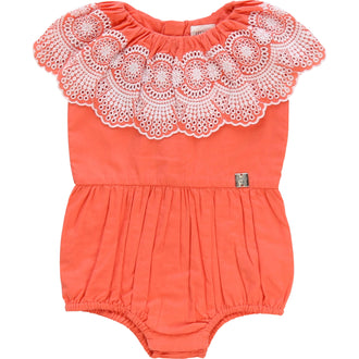 Candy Romper With Eyelet Embroidery