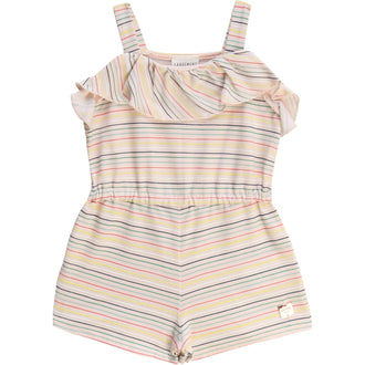 Light Pink Striped Jersey Romper With Ruffle