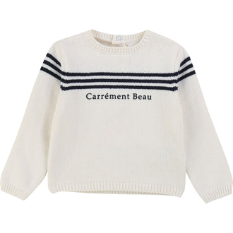Ivory Sweater With Navy Stripe