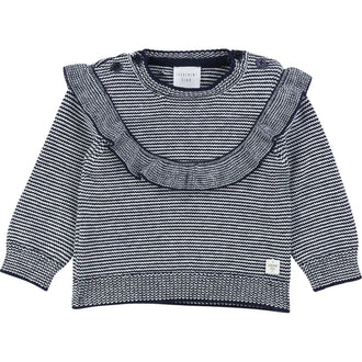 Navy Striped Frill Sweater