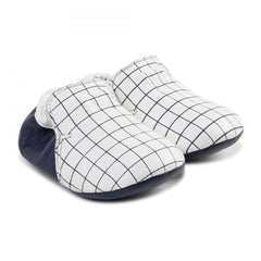 White/Navy Checkered Mocs