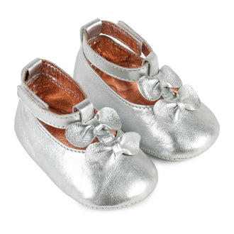 Silver T-Strap Crib Shoes With Bows