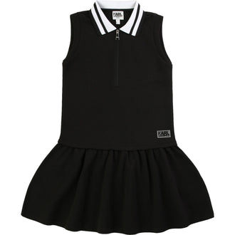 Black Pique Dress With Logo Details