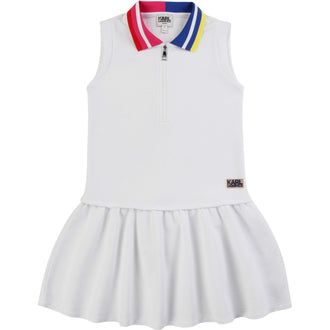 White Pique Logo Dress With Color Contrast Collar