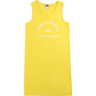 Yellow Tank Dress With Printed Logo