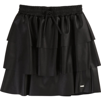 Black Layered Eco-Leather Skirt