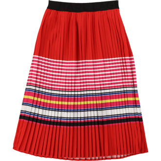 Red Knife Pleat Skirt With Colored Stripes