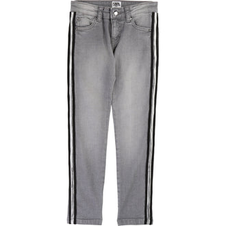 Grey Denim Pants With Silver Trim