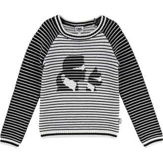 White/Black Striped Karl Sweatshirt