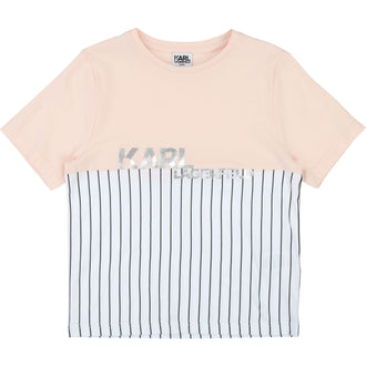 Pink & White Striped Logo Tee