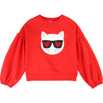 Red Sequin Choupette Sweatshirt