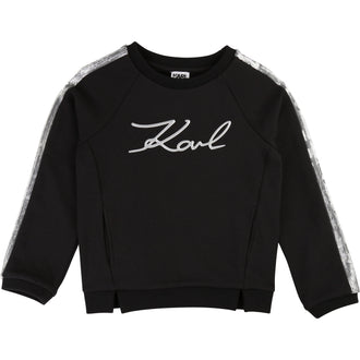 Black Logo Sweatshirt With Sleeve Trimming