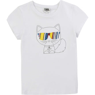 White Choupette Tee With Multicolored Sequin Glasses