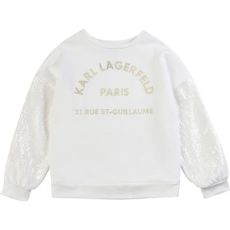 White Sequin Logo Sweattop