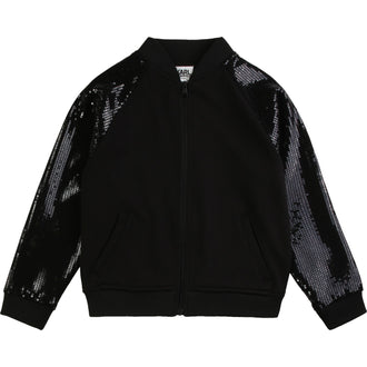 Black Back Logo Jacket With Sequin Sleeves