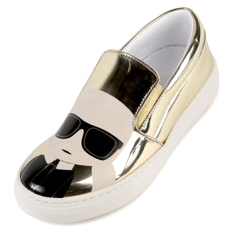 Gold Leather Karl Illustration Shoe