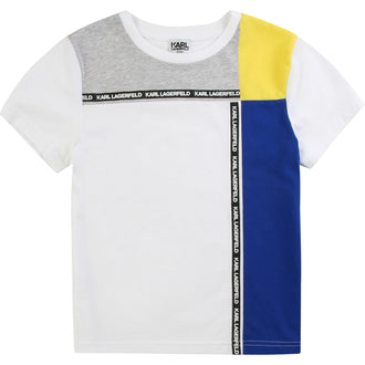 White Colorblock Logo Tee