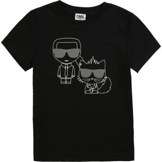 Black Tee With Front&Back Illustrations