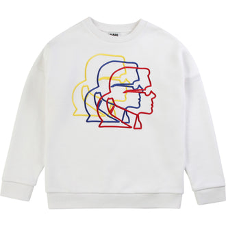 White Sweattop With Colored Karl Profile Logo