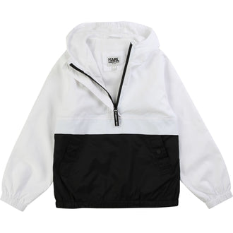 Black&White Back Logo Hooded Windbreaker