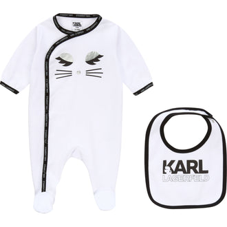 White Logo Footie&Bib Set
