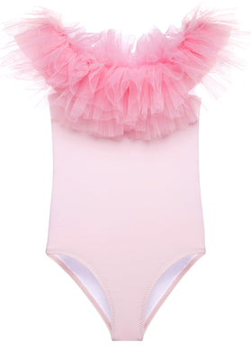 Pink Swimsuit With Pink Tulle Ruffle