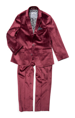 Burgundy Velvet 2 pc Suit