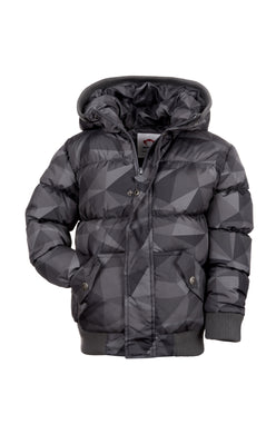 Grey Geo Puffy Coat
