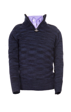 Navy Heather Mock Neck Sweater