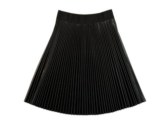 Black Pleated Pleather Skirt