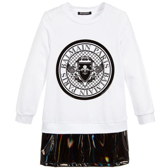 Balmain White & Black Logo Sweatdress