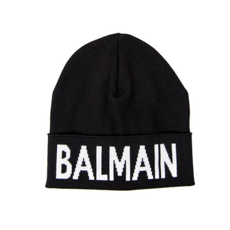 Black/White Knit Logo Hat