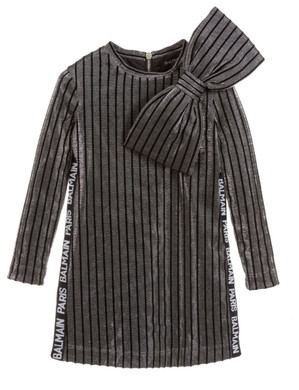 Striped Metallic Dress with Oversize Bow