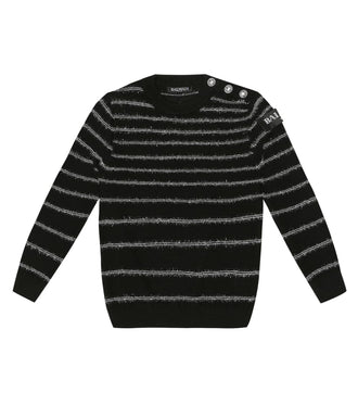 Black Silver Stripe Knit Sweater
