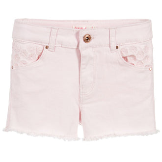 Pink Twill Embroidered Shorts