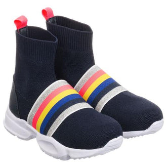 Navy Striped Sock Sneakers