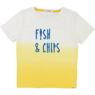 Ombre White N Yellow 'Fish N Chips' Tee