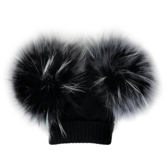 Black Wool Hat with Double White Tint Pom Pom