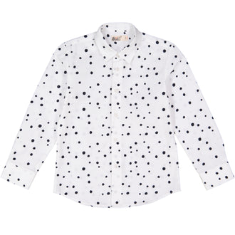 White With Black Dots Collared Shirt