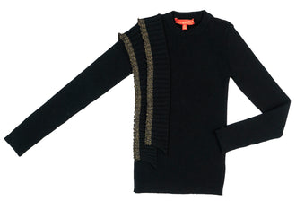 Black Gold Shimmer Trim Sweater
